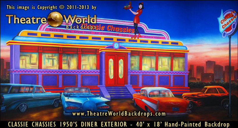 New 1950 39 s 60 39 s and 70 39 s diner and high school backdrops for Diner artwork