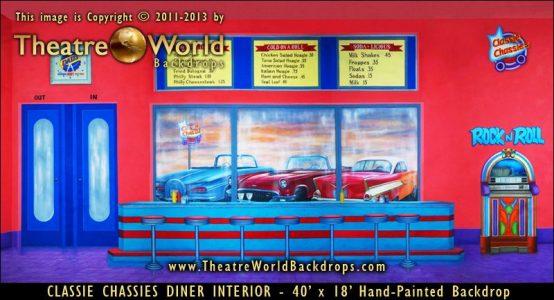 Classie Chassies Diner Interior Scenic Backdrop