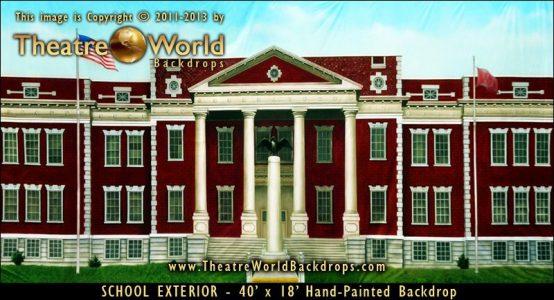 School Exterior Scenic Backdrop