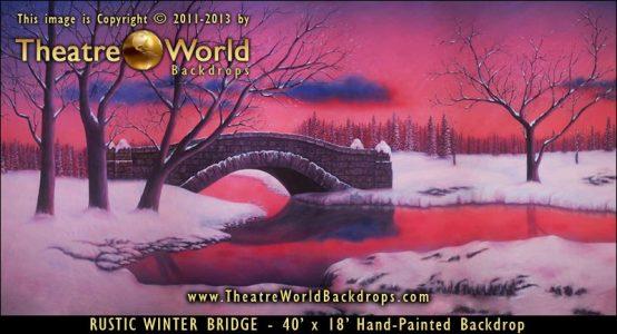 Rustic Winter Bridge Scenic Backdrop