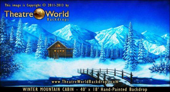 Winter Mountain Cabin Scenic Backdrop