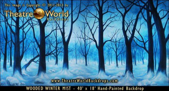 Wooded Winter Mist Scenic Backdrop