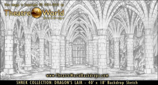 Dragons Lair Scenic Backdrop Concept Sketch