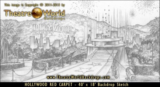 Hollywood Red Carpet Scenic Backdrop Concept Sketch