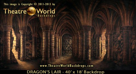 Professional Scenic Backdrop Dragon's Lair for SHREK THE MUSICAL