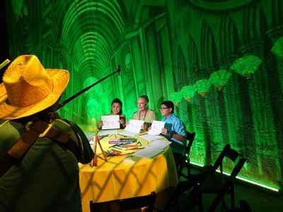Rico Rodriguez with TheatreWorld's Professional Scenic Emerald City Great Hall Backdrop at WIZARD OF OZ 75 Anniversary Party