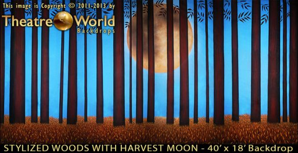 Stylized Woods with Harvest Moon Scenic Backdrop