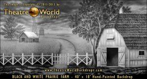 Black and White Prairie Farm Scenic Backdrop