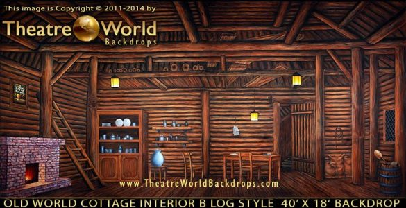 Old World Cottage Interior B Scenic Backdrop