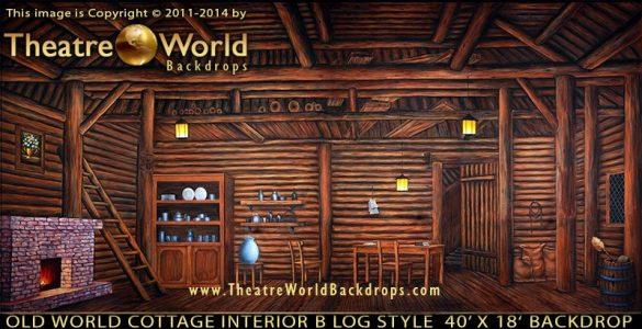 TheatreWorld's Old World Cottage Interior B Log Style backdrop
