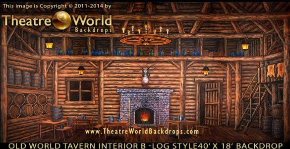 TheatreWorld's Old World Tavern Interior B Log Style backdrop