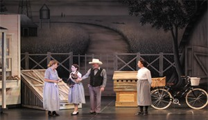 TheatreWorld's Black and White Prairie Farm backdrop used in WIZARD OF OZ opening scenes.