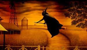 TheatreWorld's Black and White Prairie Farm backdrop with gold lighting