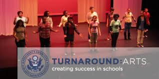 Turnaround Arts Logo with Actors on Stage