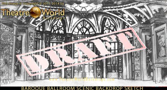 Baroque Ballroom Professional Scenic Nutcracker Backdrop Concept Sketch