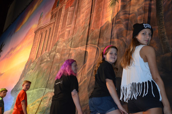 Students at the Largo Cultural Center Theatre Camp with TheatreWorld Professional Scenic Backdrop
