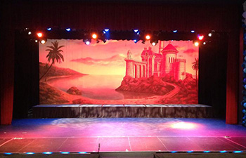 TheatreWorld's Castle on the beach backdrop at the largo Cultural Center