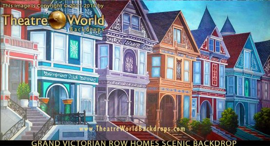 Grand Victorian Row Homes Professional Scenic Backdrop