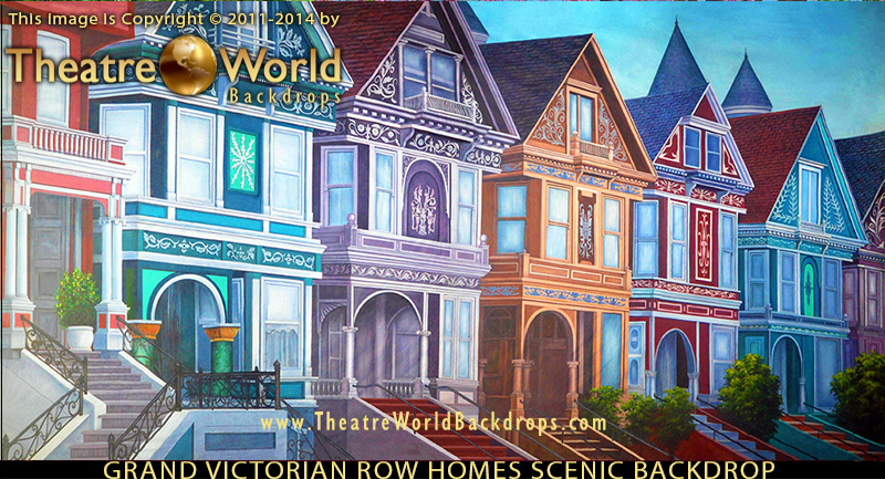 Grand Victorian Row Homes Backdrop