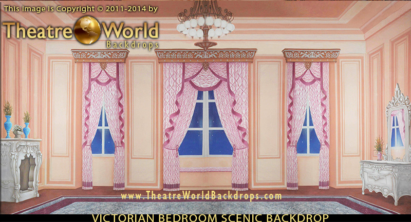 Victorian Bedroom stage and event backdrop