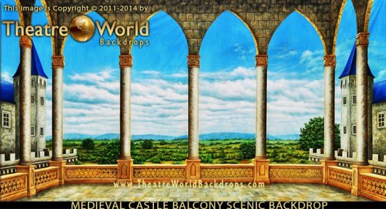 Medieval Castle Balcony Professional Scenic Backdrop
