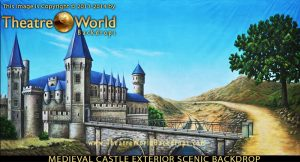Medieval Castle Exterior with Mote Professional Scenic Backdrop