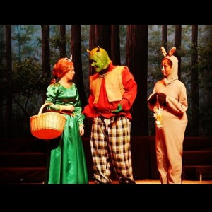 the cast of SHREK THE MUSICAL using TheatreWorld's Tranquil Woods backdrop