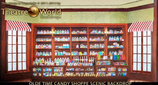 Olde Time Candy Shoppe Professional Scenic Backdrop