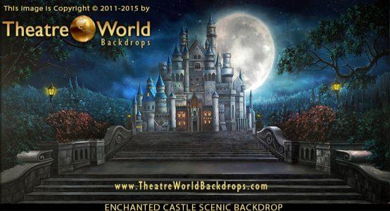 Professional Enchanted Castle Scenic Backdrop