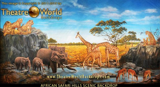 Professional Lion King Scenic Backdrop African Safari Hills