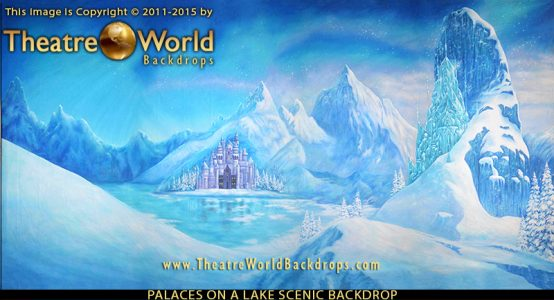Professional Frozen Scenic Backdrops Palaces on a Lake