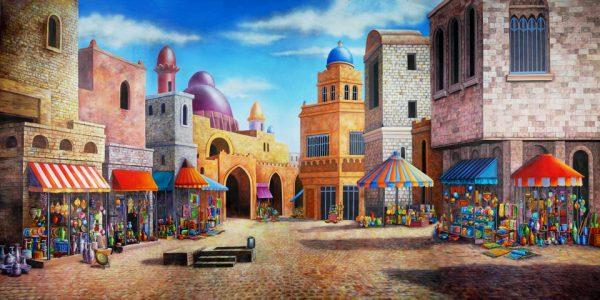 Aladdin Agrabah Marketplace Professional Scenic Backdrop
