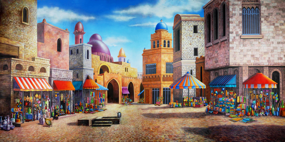 Aladdin Agrabah Marketplace Scenic Backdrop