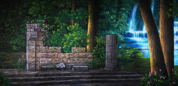Professional Cinderella Enchanted Ruin In The Forest Scenic Backdrop