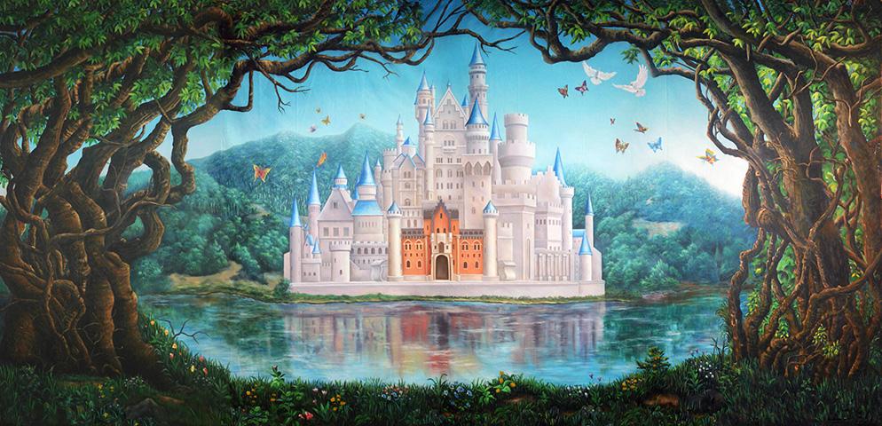 Professional Cinderella Fairy Tale Castle Scenic Backdrop