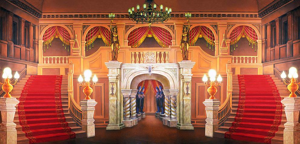 Professional Cinderella Majestic Mansion Foyer Scenic Backdrop