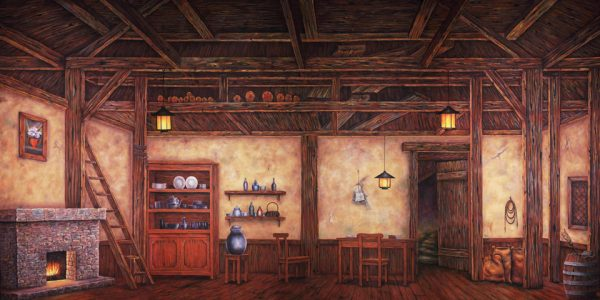 Professional Cinderella Old World Cottage Interior Scenic Backdrop