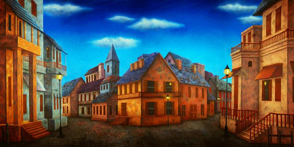 Professional CinderellaOld World Town Square Scenic Backdrop