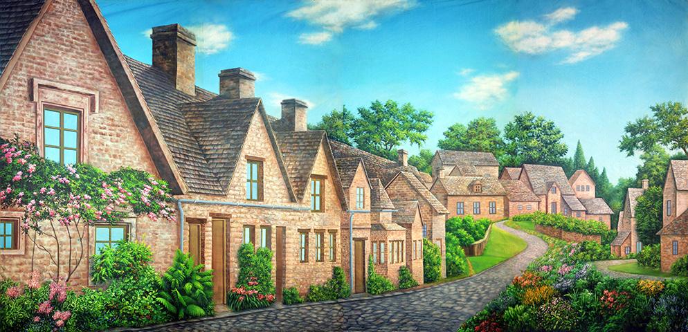 Professional Cinderella Olde European Village Scenic Backdrop