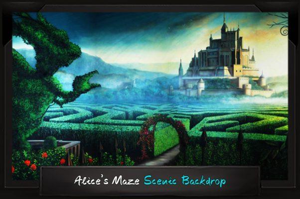 Professional Alice in Wonderland Alice's Maze Scenic Backdrop