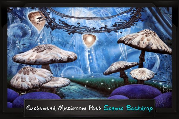Professional Alice in Wonderland Enchanted Mushroom Path Scenic Backdrop