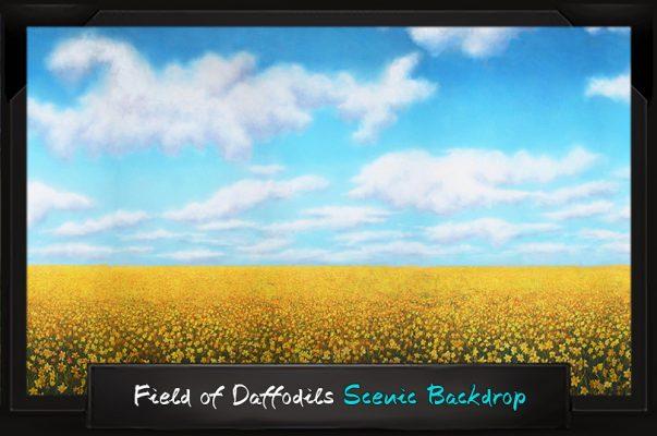 Professional Alice in Wonderland Field of Daffodils Scenic Backdrop