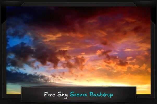 Professional Alice in Wonderland Fire Sky Scenic Backdrop