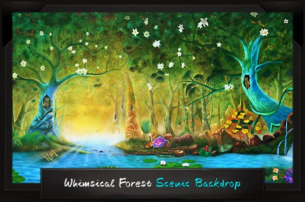 Professional Alice in Wonderland Whimsical Forest Scenic Backdrop