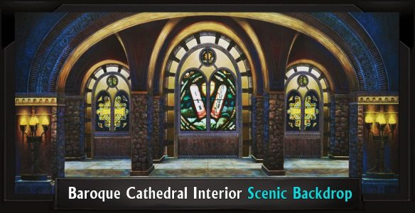 BAROQUE CATHEDRAL INTERIOR Professional Scenic Shrek Backdrop