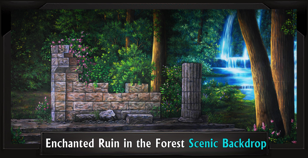 ENCHANTED RUIN IN THE FOREST Professional Scenic Shrek Backdrop