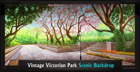 Vintage Victorian Park Professional Scenic Mary Poppins Backdrop