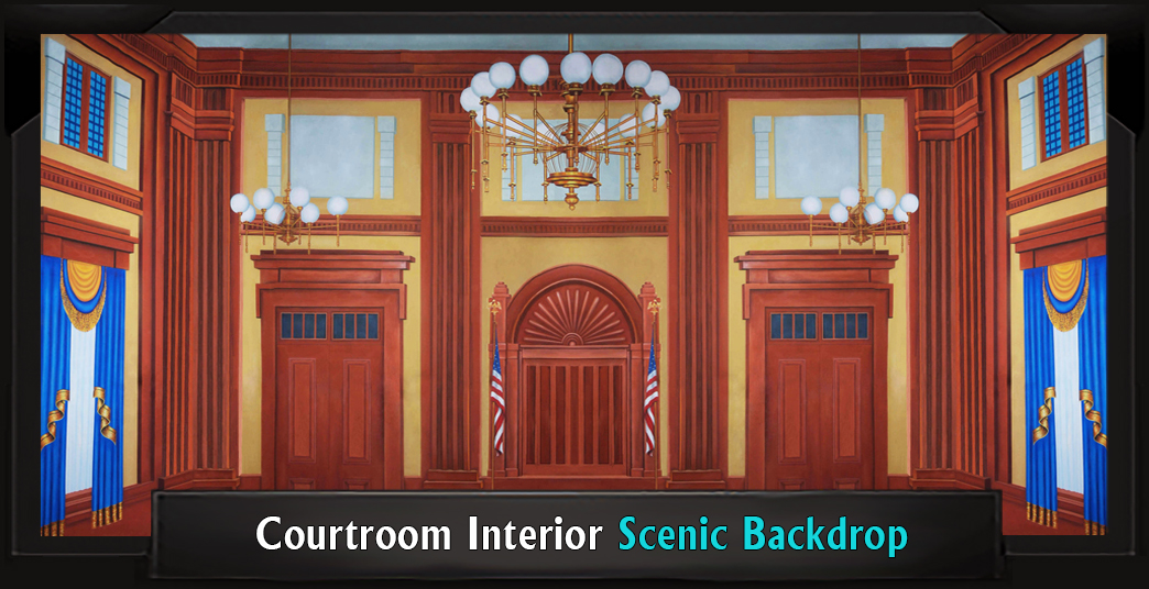 Courtroom Interior Professional Scenic Legally Blonde Backdrop