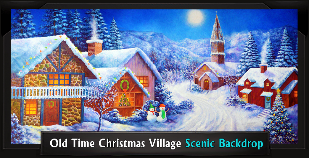 OLD TIME CHRISTMAS VILLAGE Professional Scenic Elf Musical Backdrop
