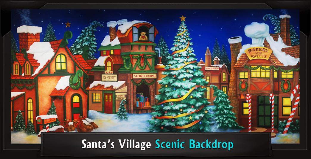 SANTA'S VILLAGE Professional Scenic Elf Musical Backdrop